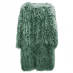 GREEN LONG FEATHER COAT