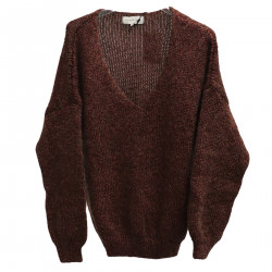 V BROWN SWEATER WITH LUREX