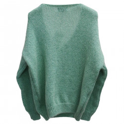 WATER GREEN V NECK SWEATER