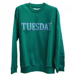 GREEN SWEATER WITH WRITING