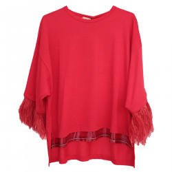 RED SWEATER WITH FEATHERS IN SLEEVES