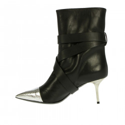 BLACK AND SILVER ANKLE BOOT