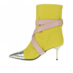 YELLOW PINK AND SILVER ANKLE BOOT