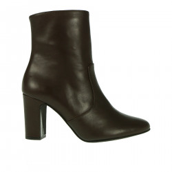 DARK BROWN LEATHER ANKLE BOOT