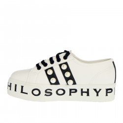 WHITE PLATFORM SNEAKER WITH BEADS