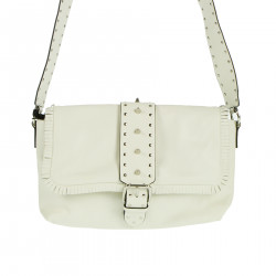 WHITE SHOULDER BAG WITH STUDS