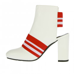 WHITE AND RED ANKLE BOOT