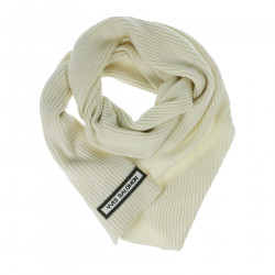 WHITE RIBBED SCARF