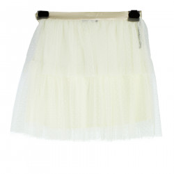 WHITE SKIRT WITH TULLE CREAM