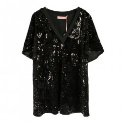BLACK VELVET AND PAILLETTES DRESS