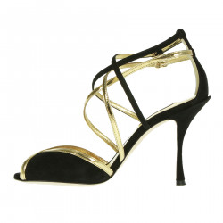 GOLD SANDAL AND BLACK BRAIDED SUEDE