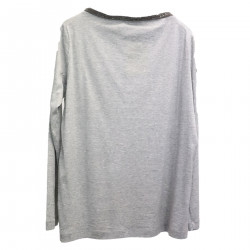 GRAY SWEATER WITH NECK DETAIL