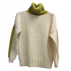CREAM AND YELLOW HIGHNECK SWEATER