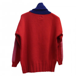 RED AND BLUE HIGHNECK SWEATER
