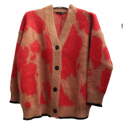 BEIGE AND RED CARDIGAN