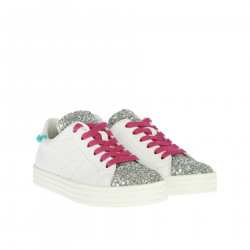 WHITE SNEAKER WITH SILVER GLITTER