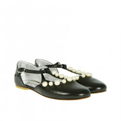 BLACK FLAT SHOE WITH BEADS