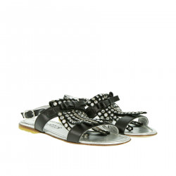 BLACK AND SILVER SANDAL WITH RHINESTONES