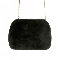 BLACK SHOULDER BAG IN ECO FUR