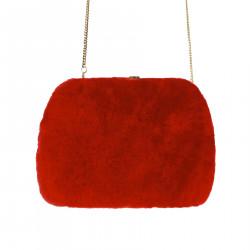 RED SHOULDER BAG IN ECO FUR