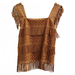 BROWN TOP WITH FRINGES