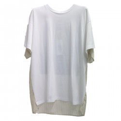 WHITE T SHIRT WITH DENIM BACK PATCH