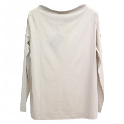 BEIGE SWEATER WITH NECK DETAIL