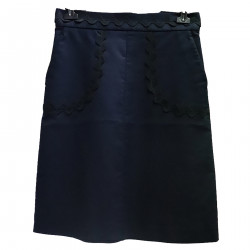 DARK BLUE SKIRT WITH EMBROIDERY