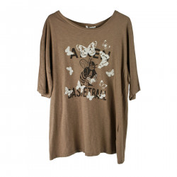 BROWN T SHIRT WITH FANTASY
