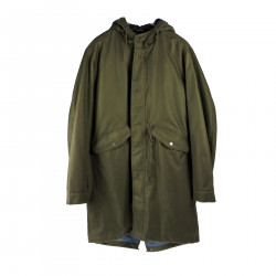 MILITARY GREEN COAT WITH HOOD