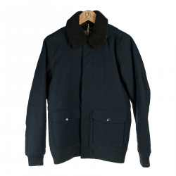 BLUE JACKET WITH ECO FUR INSERTS