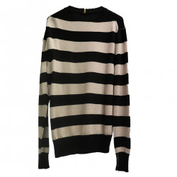 STRIPED BEIGE AND BLACK SWEATER