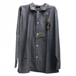 GRAY SHIRT WITH PATCHES