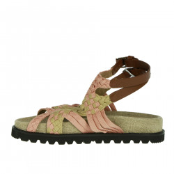 PINK AND BEIGE BRAIDED SANDAL