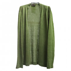 MILITARY GREEN CARDIGAN IN LINEN