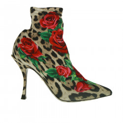 ANIMALIER ANKLE BOOT WITH ROSE FANTASY