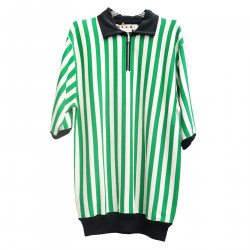 STRIPED GREEN AND WHITE POLO