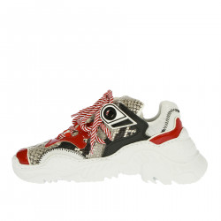 SNEAKERS WHITE AND RED PYTHONED