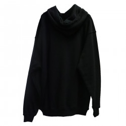 BLACK SWEATER WITH HOOD IN COTTON