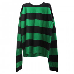 GREEN AND BLACK SWEATER IN COTTON