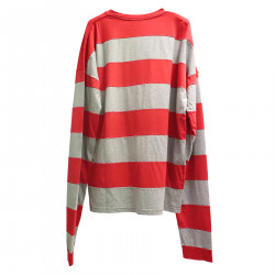 STRIPED GRAY AND RED SWEATER