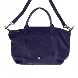 VIOLET LEATHER BAG WITH STARS