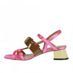 PINK AND BROWN LEATHER SANDALS