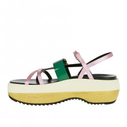 PINK AND GREEN LEATHER SANDALS