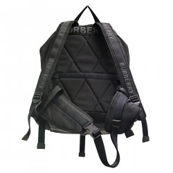 BLACK BACKPACK WITH WRITING