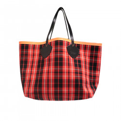 CHECKED ORANGE AND BLACK BAG