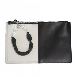 BLACK AND TRANSPARENT CLUTCH BAG