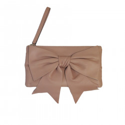 POCHETTE ROSA CIPRIA WITH LEATHER BOW