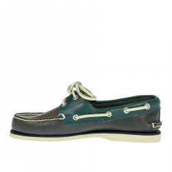 BLUE AND GREEN MOCASSINO IN LEATHER