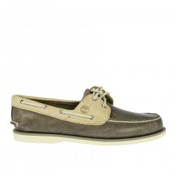 GRAY AND BEIGE MOCASSINO IN LEATHER